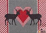 matches21 Fußmatte Fußabstreifer schmutzabsorbierend Schmutzfangmatte Hirsche Alpen Landhaus Herz 50x70 cm maschinenwaschbar bei 30°C