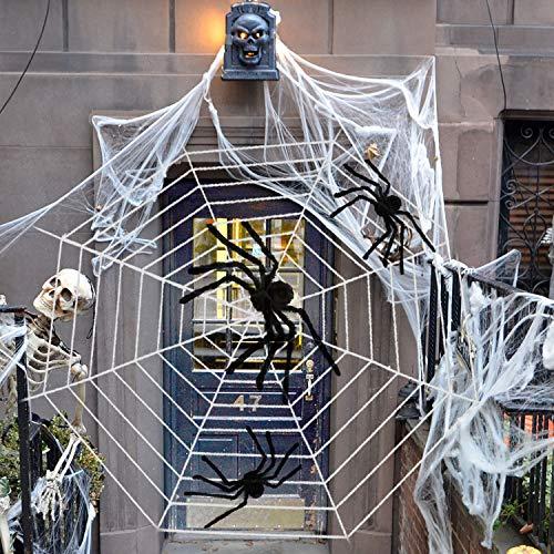 TUPARKA 4Pcs Halloween Spinne Dekorationen Set, 3 Stück Riesen behaarte Halloween Spinnen mit riesigen Runden 11ft Halloween Spinnennetz für Halloween Party Dekorationen Zubehör
