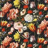 Fabulous Fabrics Halbpanama Strauß Tulpen — Meterware ab 0,5m — zum Nähen von Outdoor-Deko, Kissen und Tagesdecken und Tischdekorationen