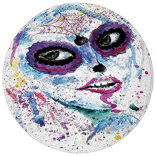 ZMYGH Round Rug Mat Carpet,Girls,Grunge Halloween Lady with Sugar Skull Make Up Creepy Dead Face Gothic Woman Artsy,Blue Purple,Flannel Microfiber Non-Slip Soft Absorbent,for Kitchen Floor Bathroom (Girl Für Make-up Dead Halloween)