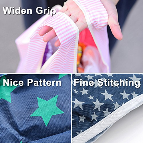 61kQUFSoIcL. SS500  - Bagcu Set of 5 Fashion Reusable Grocery Shopping Bag Foldable Shopping Tote Handy Shape Nylon Recycling Bags for…
