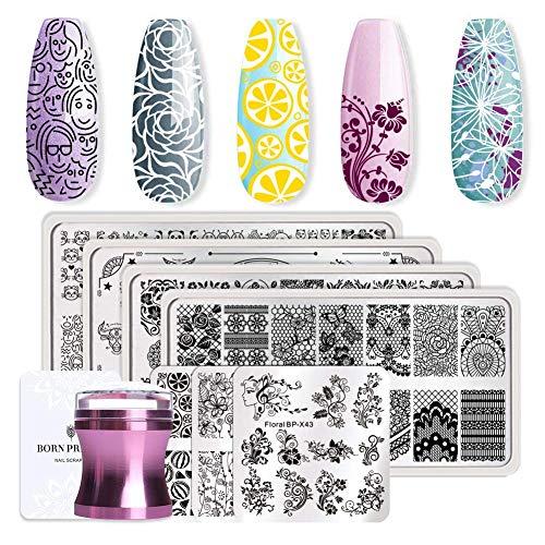 Born Pretty 7Pcs Nail Art Stamping Template Flower...