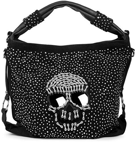 styleBREAKER Beutel Handtasche mit aufgesetztem Totenkopf mit Sunglasses und Strass Nieten Applikation, Damen 02012028, Farbe:Schwarz (Handtasche Strass-totenkopf)