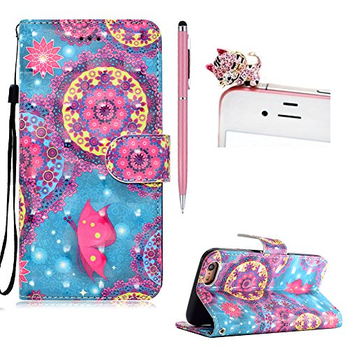 Housse Etui Coque en Cuir Portefeuille pour iPhone 6 Plus / 6S Plus,SKYXD 3D Premium Leather TPU Strips Wallet Flip Cover Pouch pour iPhone 6 Plus / 6S Plus avec Poignet Sangle,Oil Painting Tree Fleurs