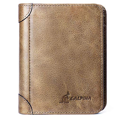 Leder Tri-fold Brieftasche (Herren Slim Tri-Fold Brieftasche - Leder Design - Business Kreditkarteninhaber Clutch,Coffee)