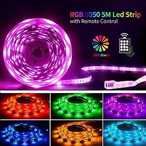 LED Strip 5M,SHINELINE LED Streifen mit Fernbedienung,RGB 5050 LED Lichter für Schlafzimmer,Raum,Küche,Party,Decke…