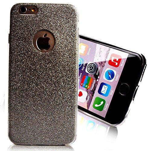 Glitzer Schutz Hülle TPU für Apple iPhone 4 4s Bling Weich Hülle Strass Weich Silikon Dünn Tasche Glitzer Handy Cover Case Schwarz
