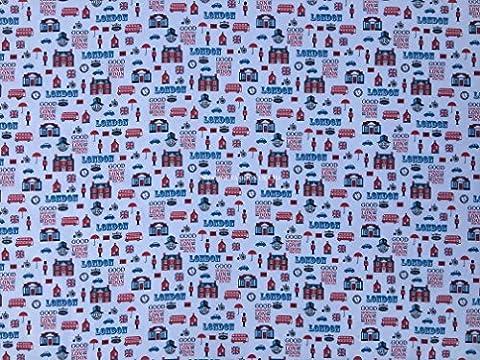 Prestige Good Morning Londres thème Londres Imprimé Poly coton tissu imprimé pour enfants Craft Tissu Robe fabrication de tissus/Craft de–par mètre, Polycoton, Rose, Per 20 Metre