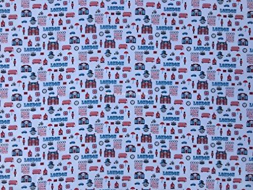 Waverly Floral Quilt (Prestige Good Morning London Print London Thema Poly Baumwolle Stoff Kunstdruck Kids Craft Designer Stoff Kleid, die/Craft Wholesale Stoffe–Meterware, Polycotton, Pink, Per Metre)