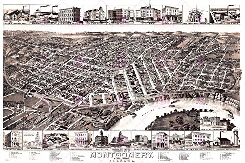 MAP ANTIQUE 1887 WELLGE MONTGOMERY ALABAMA CITY PLAN REPRO POSTER PRINT PAM1977 - 1887 Antique Map