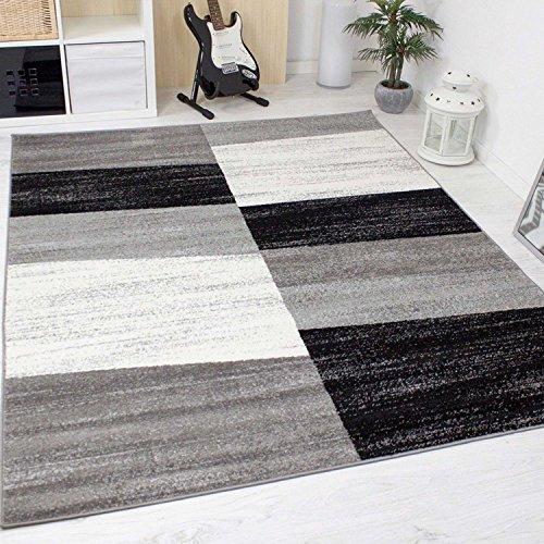 Alfombra moderna de salón jaspeada con dibujo geométrico en gris, blanco y negro - Material certificado según ÖKO TEX, Maße:200x280 cm
