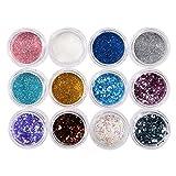 Bluelover Nail art poudre paillettes paillettes mixte décoration bricolage 12 boîtes/ensemble