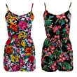 Women's Ladies Playsuit Summer Holiday Beach Wear Vest Shorts Playsuit (14, Green Floral)