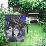 Happy More - Bandera doble para jardín con diseño de lobo con corona, 71,1 x 101,6 cm