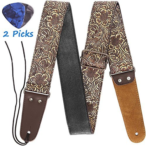 Gitarrengurt, Printed Leder Gitarrengurt Vintage PU-Leder Riemen mit aus echtem Leder Enden für Elektro Bass Gitarre, breiter Verstellbereich, mit Krawatte, enthalten 2 Picks, Bronze