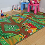"""Fun Kid's Country Farm Life Mat Animal and Tractor Rug 100cm x 165cm (3ft 3"""" x 5ft 5"""")"""