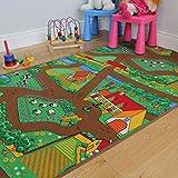 The Rug House Divertida Alfombra para niños, con Animales, Tractores y Vida de la Granja...