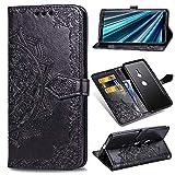 Edauto Sony Xperia XZ3 Handyhülle Hülle Mandala Blumen Wallet Flipcase PU Leder Schutzhülle Bookstyle Handytasche Brieftasche Kartenfach Ständer Magnetisch Silikon Handyschale Schwarz