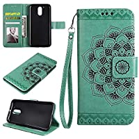 MOTO G4 Wallet Case, EST-EU Retro Mandala Embossing PU Leather Stand Function Protective Covers with Card Slot Holder Wallet Book Case for MOTOROLA MOTO G4, Green
