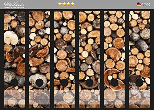 Wallario Ordnerrücken Sticker Gestapeltes Rundholz in Premiumqualität - Größe 36 x 30 cm, passend für 6 breite Ordnerrücken (Holz Gestapelte)
