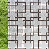 Opaco NRSP adesivi per finestra trasparente la finestra del bagno bagno carta pellicola di vetro marrone a griglia 2 metri