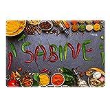 Tischset mit Namen ''Sabine'' Motiv Chili - Tischunterlage, Platzset, Platzdeckchen, Platzunterlage, Namenstischset