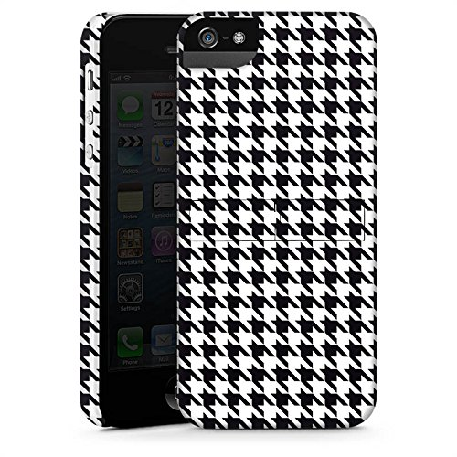 Apple iPhone X Silikon Hülle Case Schutzhülle Black and White Hahnentritt Karo Premium Case StandUp