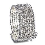 Trimmen Shop 7 Row Silber Oberarm Manschette Armbänder Swirl Strass Diamante Diamanten Mode-Accessoire für Frauen Damen Mädchen