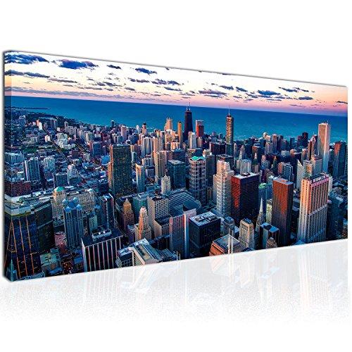 XXL Wandbild, Leinwandbild 100x50cm, Bunte Skyline in Chicago, Städten in USA - Wolkenkratzern und Horizont - Panoramabild Keilrahmenbild, Bild auf Leinwand - Einteilig, Fertig zum Aufhängen