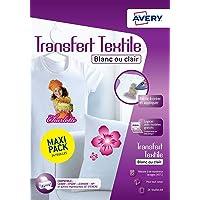 AVERY - Pochette de 24 Papiers Transferts Tee-Shirt ou Textiles Blancs ou Clairs, Personnalisables et Imprimables…