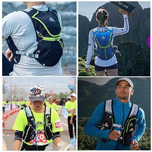 AONIJIE Leichter Männer Frauen Marathon Radfahren Laufen Rucksack mit Trinkblase Blau+2*Waterbottles(250ml)