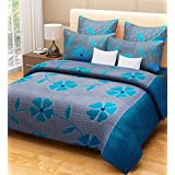 Home Candy 144 TC 100% Cotton Blue Flowers and Checks Double Bed Sheet with 2 Pillow Covers