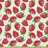 ABAKUHAUS Früchte Stoff als Meterware, Erdbeeren Lebhaftes