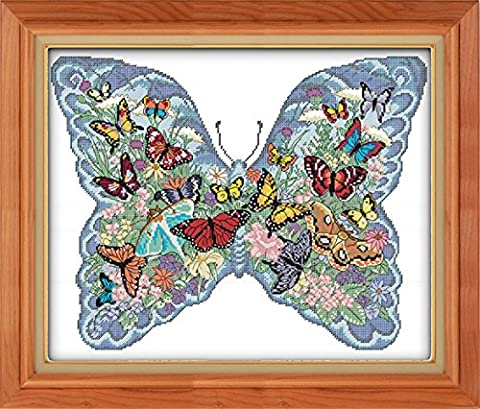 CaptainCrafts Hot New Releases Cross Stitch Kits Patterns Embroidery Kit - Butterflies In A Butterfly