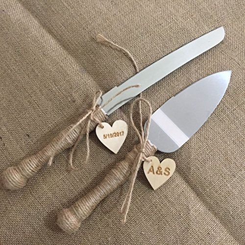 Rustic Wedding Cake Knife and Server Set, Personalized Rustic Country Wedding Cake Server Set, Custom Wedding Decor