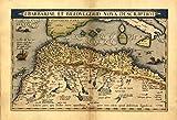 Antike Karte der Barbarenküste (Nordafrika von Morokko bis Tunesien), Reproduktion, von Abraham Ortelius, Vintage-Optik, 48 x 33cm
