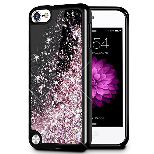 iPod Touch 5/6 Fall, caka iPod Touch 6 Glitter Case [Starry Night Serie] Fashion Bling Flüssigkeit Schwimmende Sparkle Glitzer Girly TPU Bumper Schutzhülle für iPod Touch 5/6 -, Rose Gold - Lila Ipod-touch-fall 5