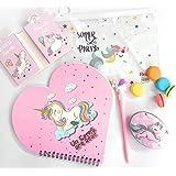 Tera13 (Pack of 6 Items) Unicorn Folder/ Unicorn Heart Shape Diary/ Unicorn Led Pen/ Unicorn Owl Shape Tin Box/ Unicorn Stick