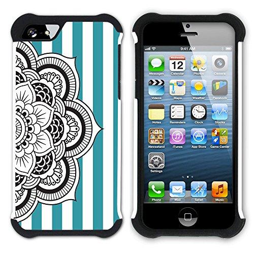Graphic4You Mandala Blume Streifenmuster (Wasserblau) Hart + Weiche Kratzfeste Hülle Case Schale Tasche Schutzhülle für Apple iPhone SE / 5 / 5S Türkis