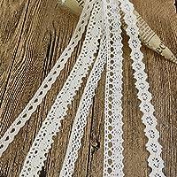 Cinta de encaje de tela de algodón, color marfil, 20 mm de ancho, para manualidades de costura