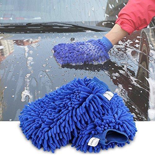 Preisvergleich Produktbild gadgetboy Premium Mikrofaser Chenille Waschhandschuh Reinigungstuch für Waschen und Auto Details Twin Handschuhe,  um zu verhindern Schwamm Kratzern (2 Stück Pad Tücher) – Blau