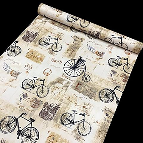 LoveFaye Shabby Chic Bikes Contact Paper Self-Adhesive Shelf Liner Drawer