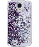 Coque pour Samsung Galaxy S4, ISAKEN Transparente Liquide Paillette Brillante Plastique Arrière Protecteur Dur Etui Housse de Protection Étui Coque Strass Case Cover pour Samsung Galaxy S4 SIV I9500 I9505 (Étoile Pourpre)