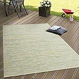 Paco Home Tappeto Tessitura Piatta da Esterno E Interno Tappeti Terrazze Sfumatura Verde, Dimensione:80x200 cm