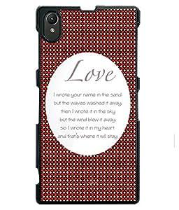 Fuson 2D Printed Love Designer back case cover for Sony Xperia Z1 - D4562