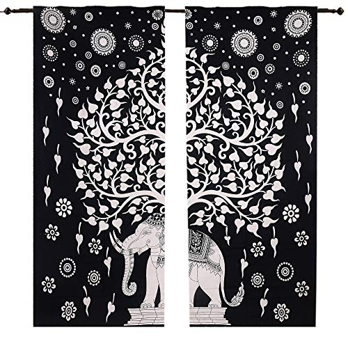 Elefant Baum Viel Glück Vorhang Set, Mandala Gardinen Panels Paar 82 Länge Set von 2, Mandala Wand Smyrna Boho dekorativen Gardinen Fenster Vorhang Fenster Treatment Platten Set Full Fenster -