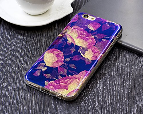 iPhone 6 Plus Coque Transparent Tpu,iPhone 6S Plus Étui en Silicone Mince avec Motif,JAWSEU [Double Face]Luxe Coloré Placage Cristal Clair Souple Gel Housse Etui de Protection,Bling Sparkle Case CLear bleu/fleur7