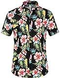 SSLR Herren Hawaiihemd Kurzarm Baumwolle Hemd Blumen gedruckt Aloha Shirt für Strand Freizeit Reise (Small, Schwarz Hibiskus)