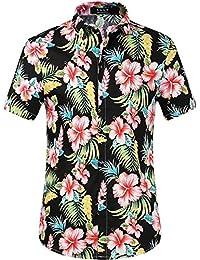 SSLR Camisas Hawaianas Hombre Casual Manga Corta Estampada