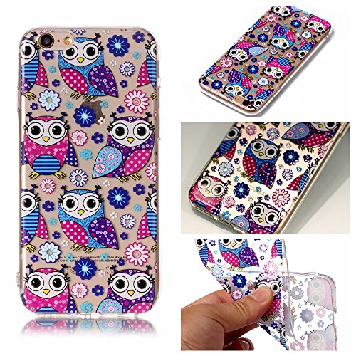 iphone 6 Hülle,iphone 6S Case, iphone 6 6S Schutzhülle Case Silikon, Cozy Hut Kunst Malerei Muster Ultra Slim Transparent/Schützend/Weich/Ultra Hybrid/Schock Absorption/Kratzfest Backcover Handyhülle TPU Case für iphone 6/6s 4.7 Zoll - Eule